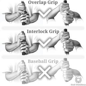 Overlap grip and interlock grip are recommended over the baseball grip