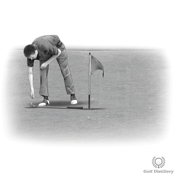 Putting Drill - Pace 4 tees a putter length away from the hole