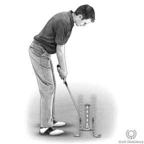 Putting Drill - Place two clubs on the ground parallel to the target line