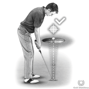 Putting Drill - Try to hit the tee with your ball as if it were a hammer