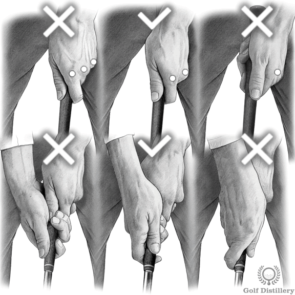 Comparison between between a neutral grip (middle), strong grip (left) and weak grip (right)
