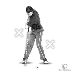 Don't allow your legs and lower body to be too active while you reach the top of the golf swing