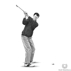 Bring your club to the top of the golf swing and notice the position of your hands