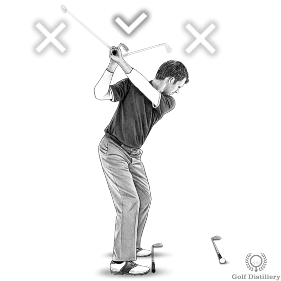 Top of the golf swing drill for the correct direction of the club