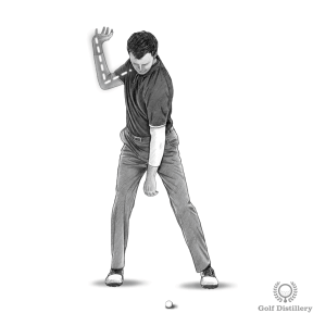 Your elbow should be bent at a little more than 90 degrees at the top of the golf swing