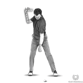 Bend your right wrist at the top of the golf swing
