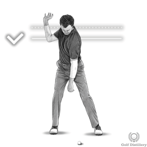 Your right elbow should be below your right hand at the top of the golf swing