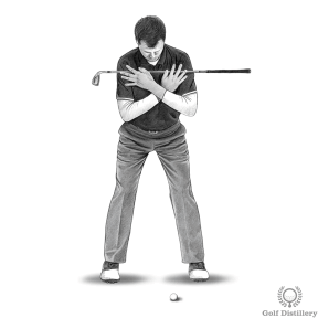 Press your club against your shoulders and chest with the shaft parallel to the ground